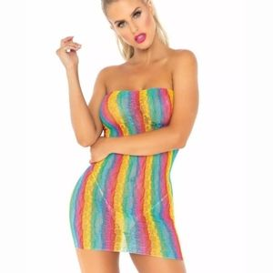 Rainbow Leopard Lace Tube Dress - One Size